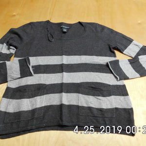 Women's Cynthia Rowley Sweater XS Grey Stripe